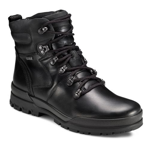 Mens Ecco USA Track 6 GTX Plain Toe Hi Casual Shoe - Black/Black 40