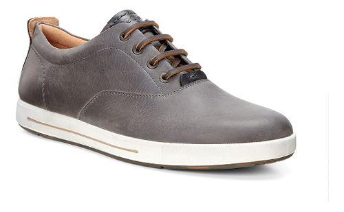 Mens Ecco Eisner Retro Tie Casual Shoe - Titanium/Black 39