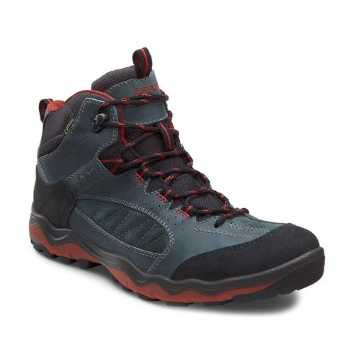 Mens Ecco USA Ulterra Mid GTX Hiking Shoe - Black/Green Gables 46