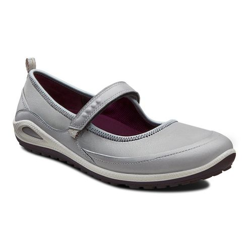 Womens Ecco USA Biom Grip Lite MJ Casual Shoe - Silver Grey/Burgundy 36