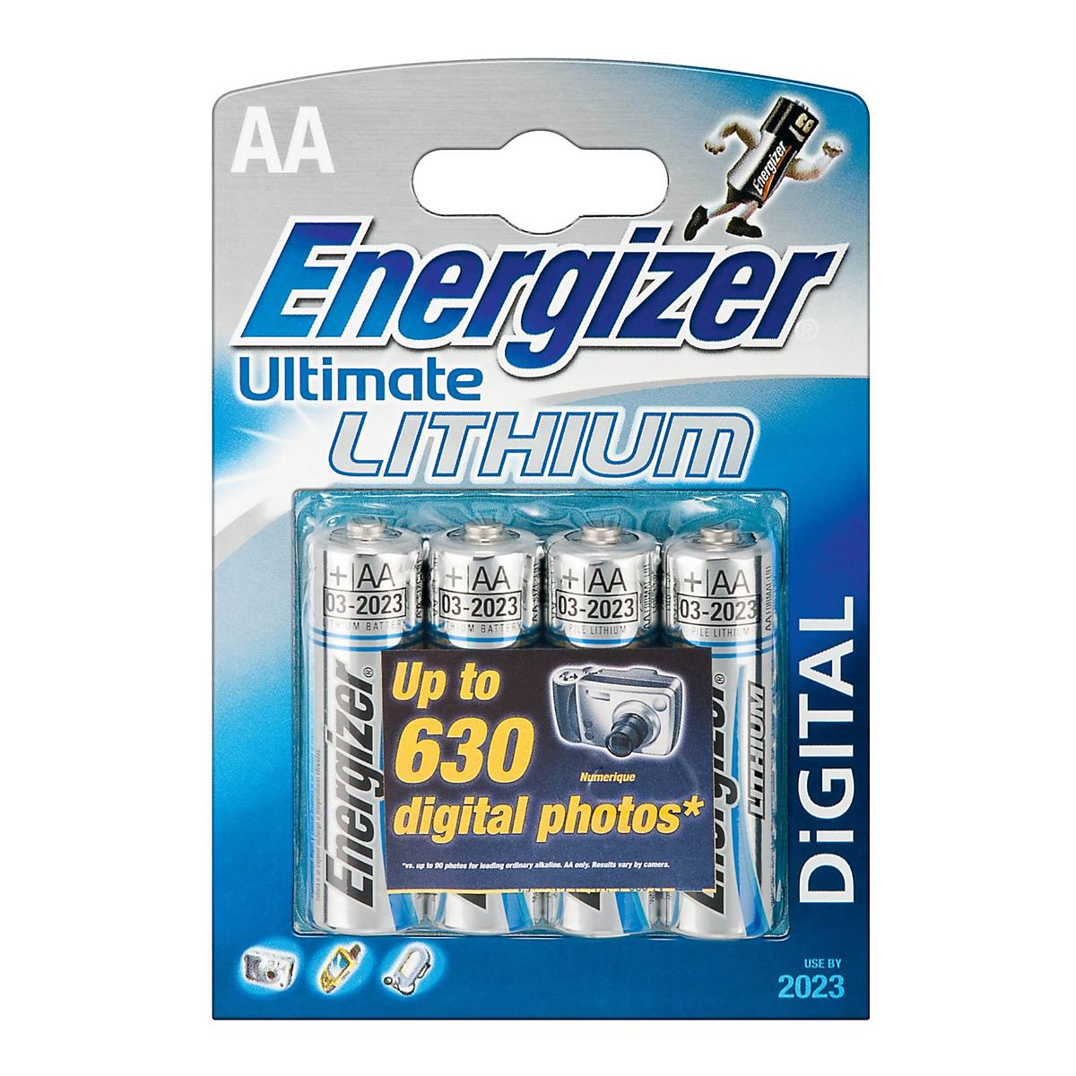 energizer ultimate lithium aa batteries 4 pack electronics at road runner sports. Black Bedroom Furniture Sets. Home Design Ideas