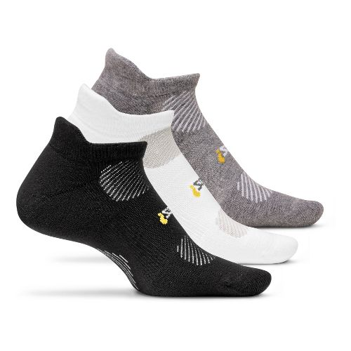 Feetures High Performance Light Cushion No Show Tab 3 pack Socks - Black M