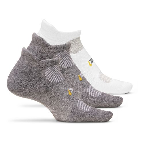 Feetures High Performance Light Cushion No Show Tab 3 pack Socks - Grey L