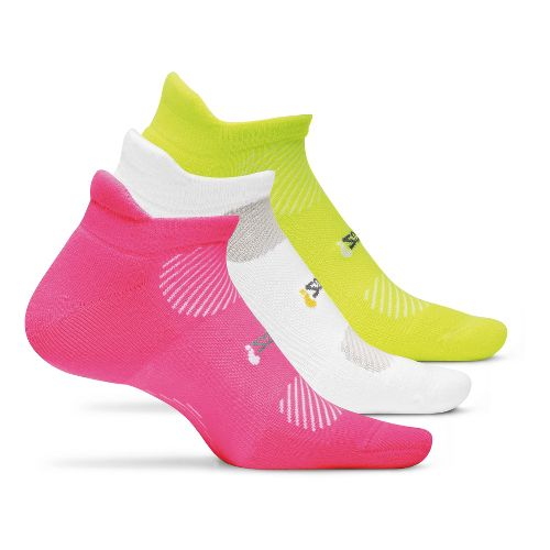 Feetures High Performance Light Cushion No Show Tab 3 pack Socks - Pink M