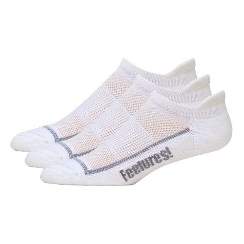Feetures High Performance Light Cushion No Show Tab 3 pack Socks - White S