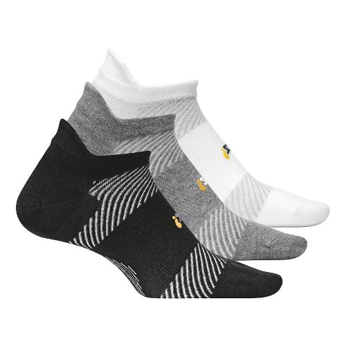 Feetures High Performance Ultra Light No Show Tab 3 pack Socks - Black L