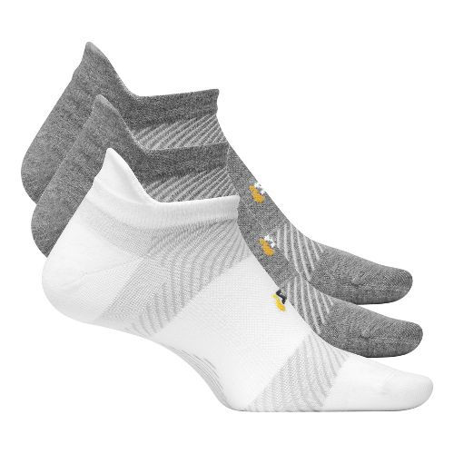 Feetures High Performance Ultra Light No Show Tab 3 pack Socks - Grey/White L
