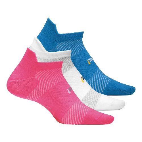 Feetures High Performance Ultra Light No Show Tab 3 pack Socks - Pink M