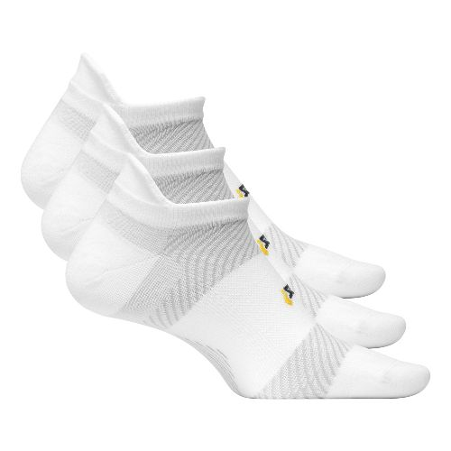 Feetures High Performance Ultra Light No Show Tab 3 pack Socks - White L