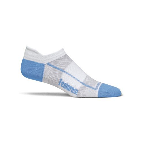 Feetures High Performance Ultra Light No Show Tab 3 pack Socks - White/Light Blue L ...