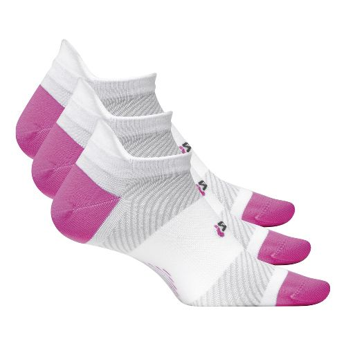 Feetures High Performance Ultra Light No Show Tab 3 pack Socks - White/Pink L