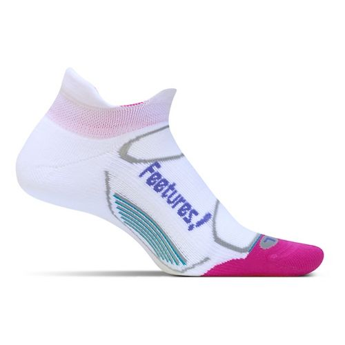 Feetures Elite Light Cushion No Show Tab Socks - White Periwinkle S