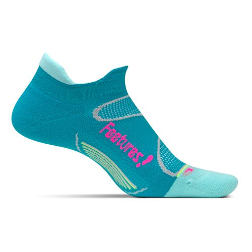 Feetures Elite Light Cushion No Show Tab Socks - Capri/Pink Pop M