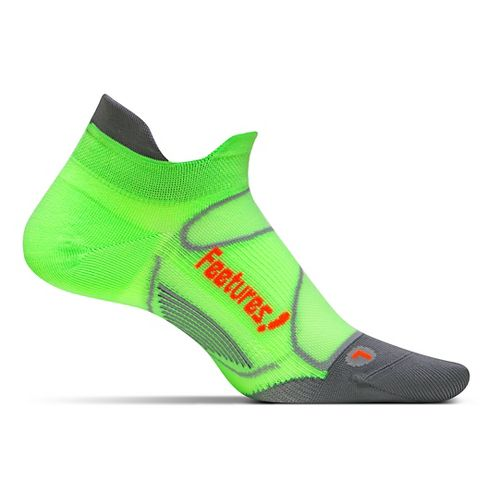 Feetures Elite Ultra Light No Show Tab Socks - Citron/Elec Orange L