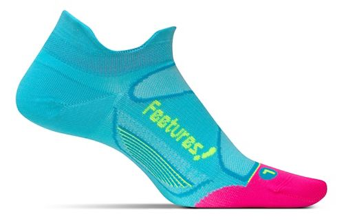 Feetures Elite Ultra Light No Show Tab Socks - Sky Blue/Reflector S