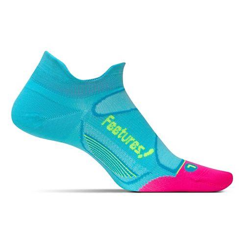 Feetures Elite Ultra Light No Show Tab Socks - Sky Blue/Reflector M