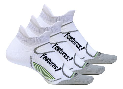 Feetures Elite Light Cushion No Show Tab 3 pack Socks - White L