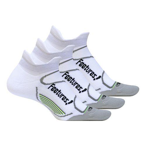 Feetures Elite Light Cushion No Show Tab 3 pack Socks - White L