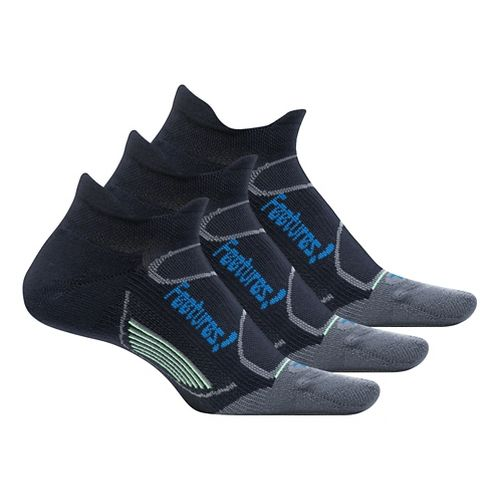 Feetures Elite Light Cushion No Show Tab 3 pack Socks - Black/Pacific Blue M