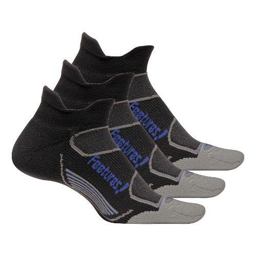 Feetures Elite Light Cushion No Show Tab 3 pack Socks - Black/Blue M