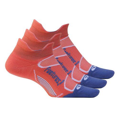 Feetures Elite Light Cushion No Show Tab 3 pack Socks - Camelia/Violet S