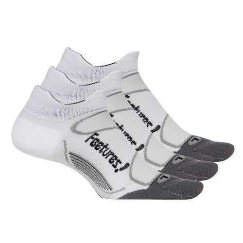Feetures Elite Light Cushion No Show Tab 3 pack Socks - White/Black S