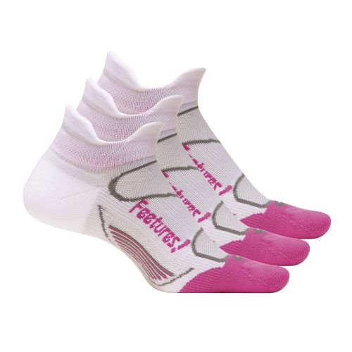 Feetures Elite Light Cushion No Show Tab 3 pack Socks - White/Pink S