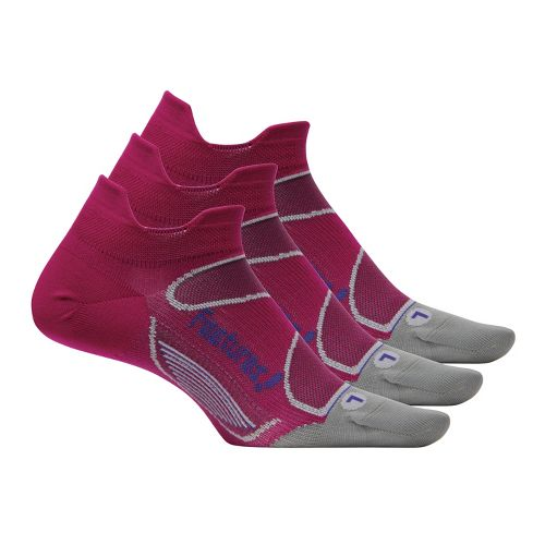 Feetures Elite Ultra Light No Show Tab 3 pack Socks - Magenta/Indigo S