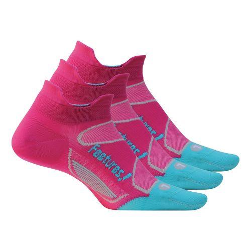 Feetures Elite Ultra Light No Show Tab 3 pack Socks - Pink/Aqua S