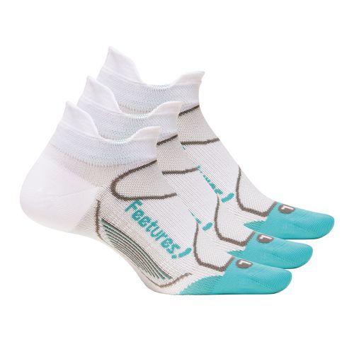 Feetures Elite Ultra Light No Show Tab 3 pack Socks - White/Aqua S