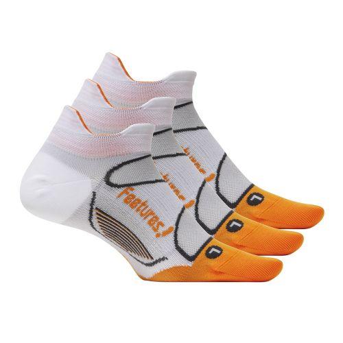 Feetures Elite Ultra Light No Show Tab 3 pack Socks - White/Orange M