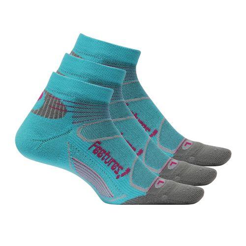 Feetures Elite Light Cushion Low Cut 3 pack Socks - Aqua/Pink M
