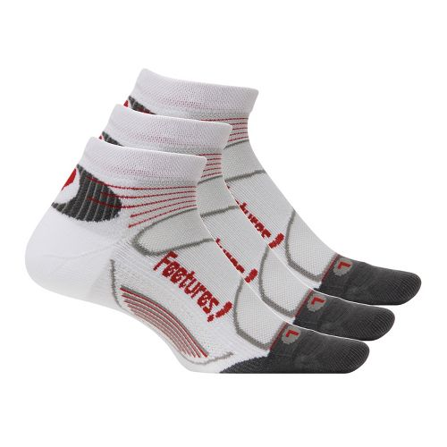 Feetures Elite Light Cushion Low Cut 3 pack Socks - White/Red L