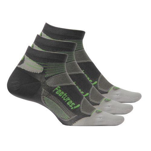 Feetures Elite Ultra Light Low Cut 3 pack Socks - Carbon/Green M