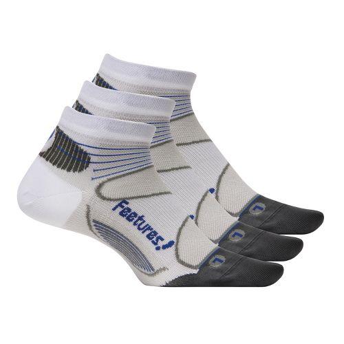 Feetures Elite Ultra Light Low Cut 3 pack Socks - White/Cobalt M