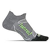 Feetures Elite Merino+ Ultra Light No Show Tab Socks - Grey/Reflector L