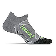 Feetures Elite Merino+ Ultra Light No Show Tab Socks - Grey/Reflector M