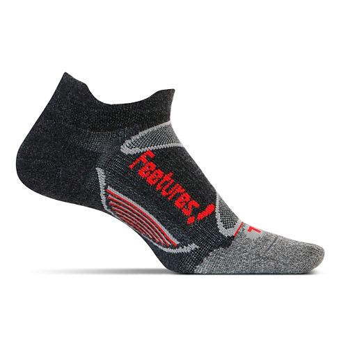 Feetures Elite Merino+ Ultra Light No Show Tab Socks - Charcoal Red M