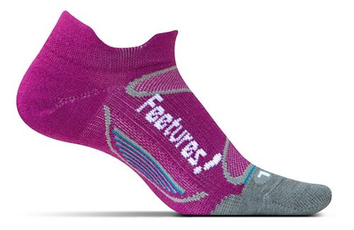 Feetures Elite Merino+ Ultra Light No Show Tab Socks - Berry White S