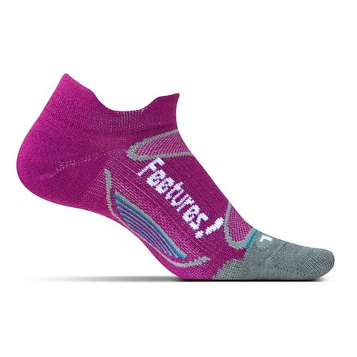 Feetures Elite Merino+ Ultra Light No Show Tab Socks - Berry White M