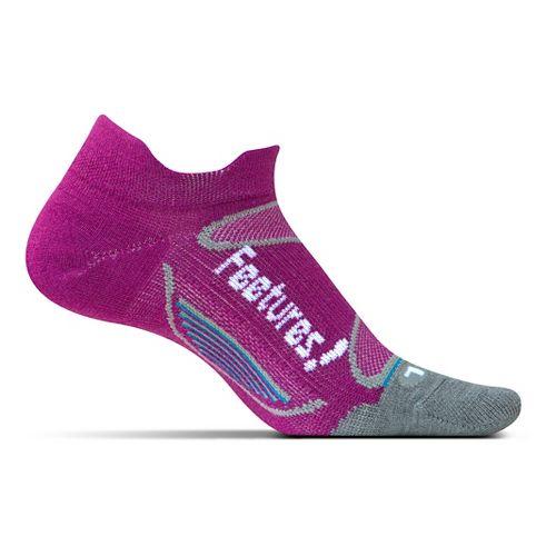 Feetures Elite Merino+ Ultra Light No Show Tab Socks - Berry White S