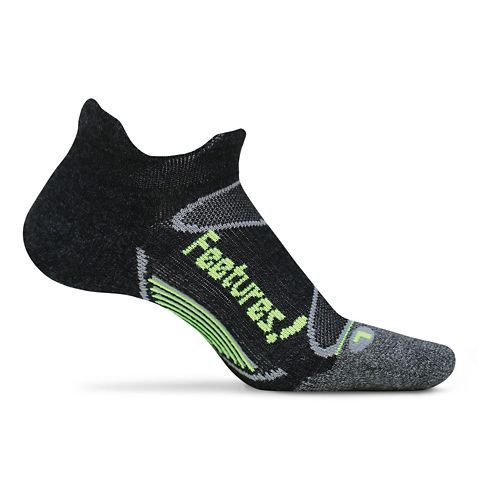 Feetures Elite Merino+ Ultra Light No Show Tab Socks - Charcoal/Reflector M