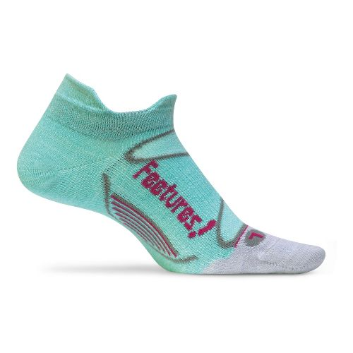 Feetures Elite Merino+ Ultra Light No Show Tab Socks - Eggshell/Blue M