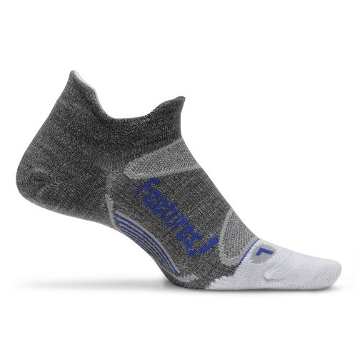 Feetures Elite Merino+ Ultra Light No Show Tab Socks - Grey/Blue M