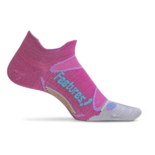 Feetures Elite Merino+ Ultra Light No Show Tab Socks - Orchid/Sky Blue M