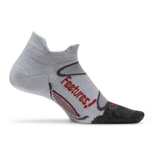 Feetures Elite Merino+ Ultra Light No Show Tab Socks - Silver/Rust M