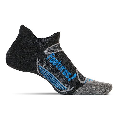 Feetures Elite Merino+ Light Cushion No Show Tab Socks - Charcoal M