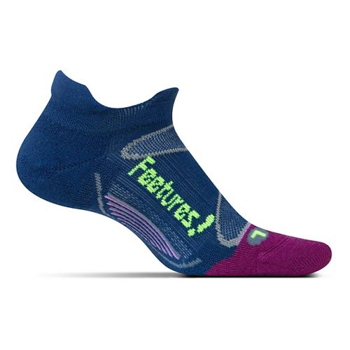 Feetures Elite Merino+ Light Cushion No Show Tab Socks - Navy Reflector M