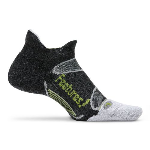 Feetures Elite Merino+ Light Cushion No Show Tab Socks - Charcoal/Lime M