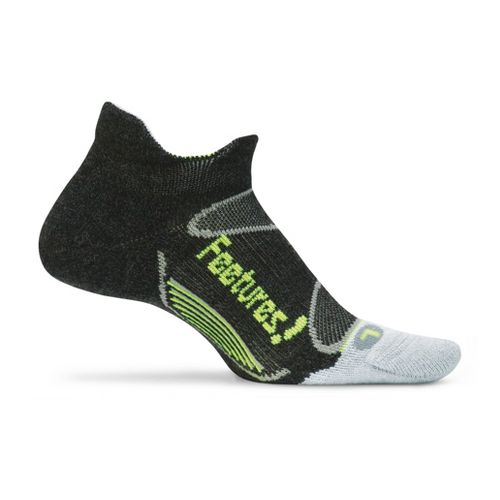 Feetures Elite Merino+ Light Cushion No Show Tab Socks - Charcoal/Reflector M